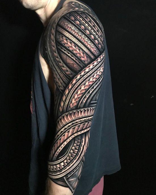 Full Sleeve Polynesian Tribal Tattoo