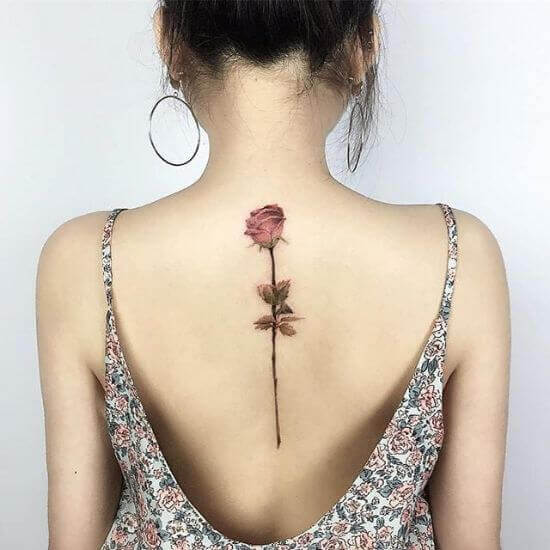 Rose Back Tattoo Placement