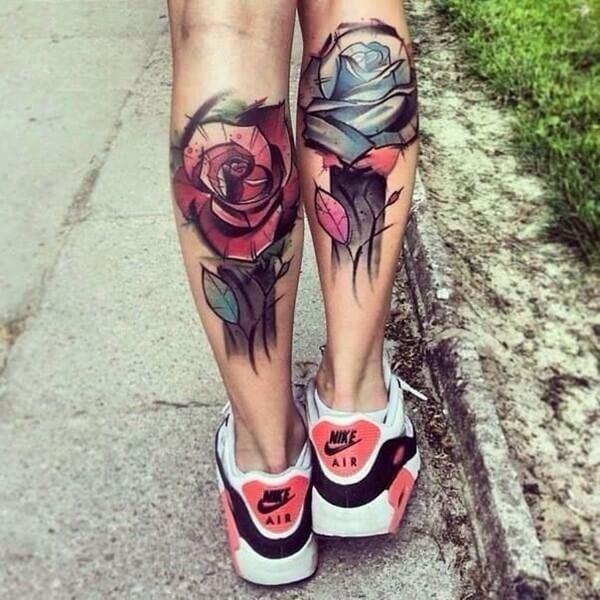 Watercolor Calf Tattoo