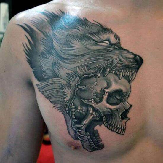 Wolf with Skull in Mouth Tattoo