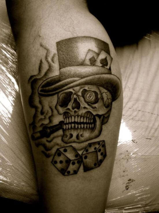Amazing Dice with Skull Tattoo ideas