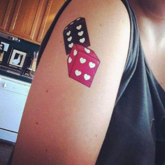 Black and Pink Dice Tattoo ideas for female