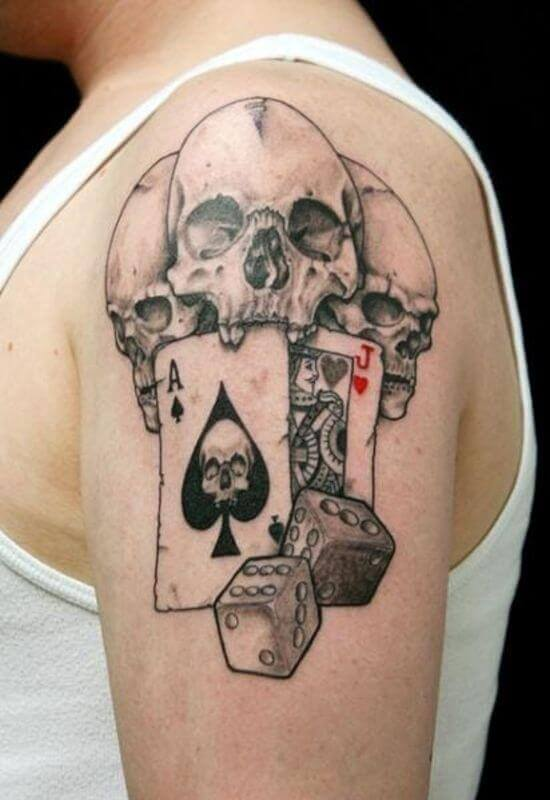 Cool Dice and Skull tattoo designs 2021