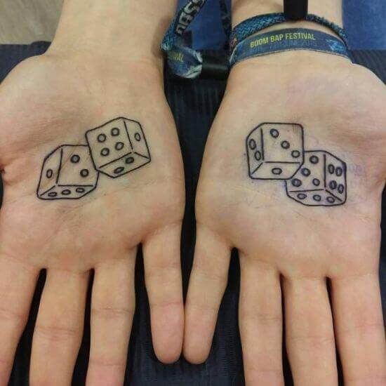 Dice Tattoos on palm