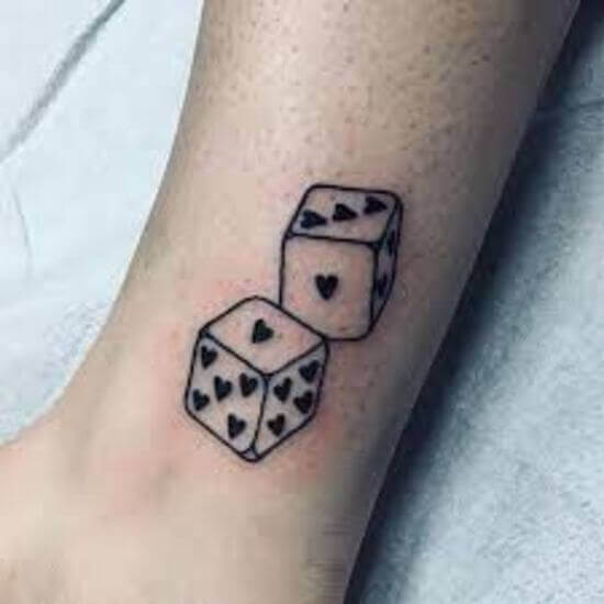 Heart shape Dice Tattoos