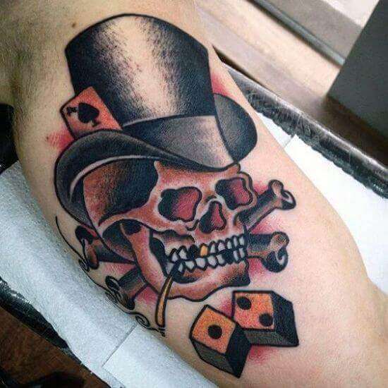 Skull with Dice tattoos for guys