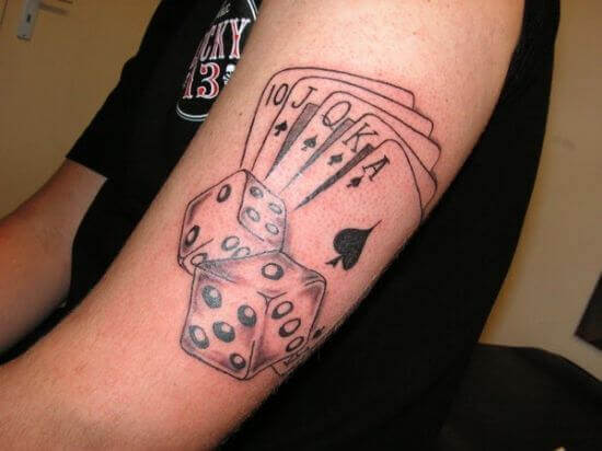 poker dice tattoo ink