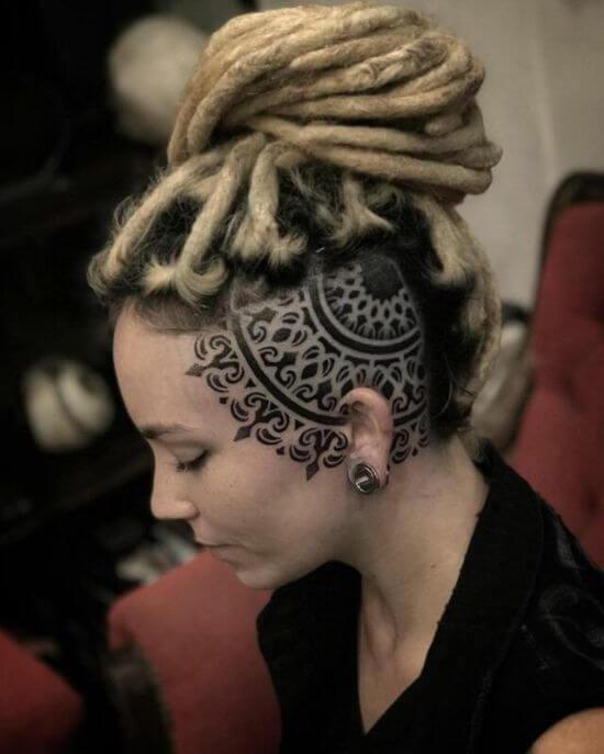 Beautiful mandala Head tattoo girl