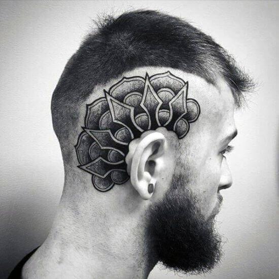 Black ink Head tattoos