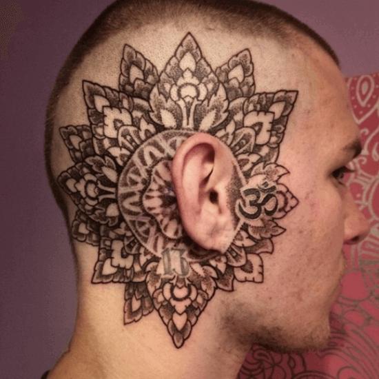 Geometric Head tattoo ideas for men