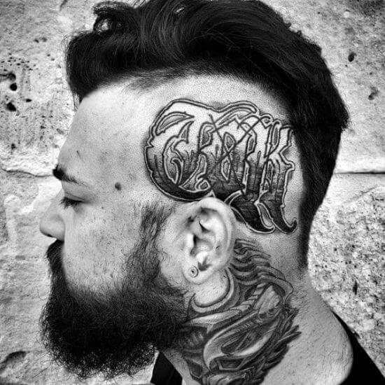 Script tattoos on men head