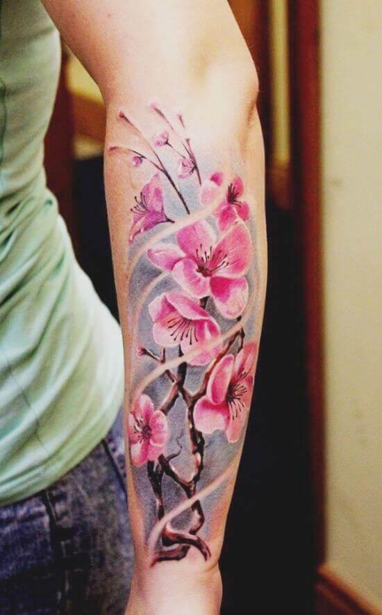 Best Japanese Cherry Blossom Sleeve Tattoos 2