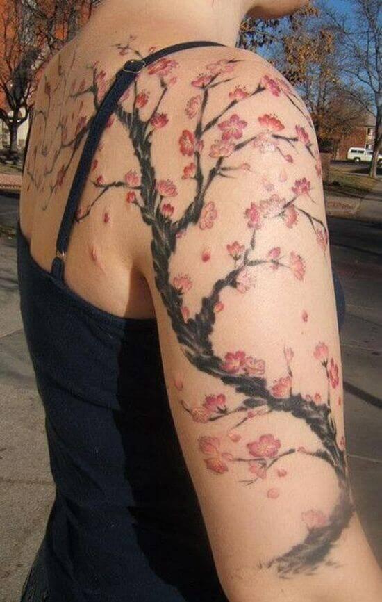 Best Japanese Cherry Blossom Sleeve Tattoos 4