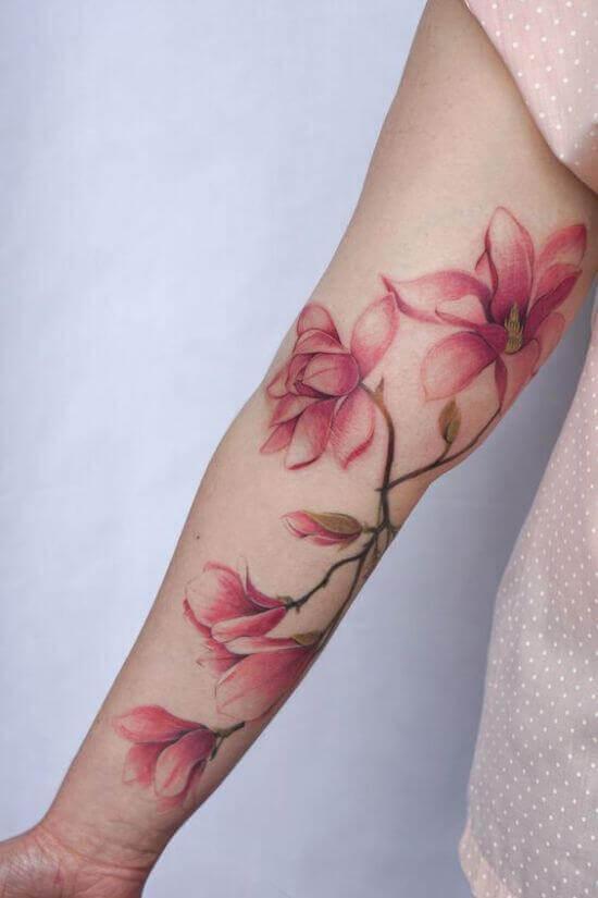 Best Japanese Cherry Blossom Sleeve Tattoos 6