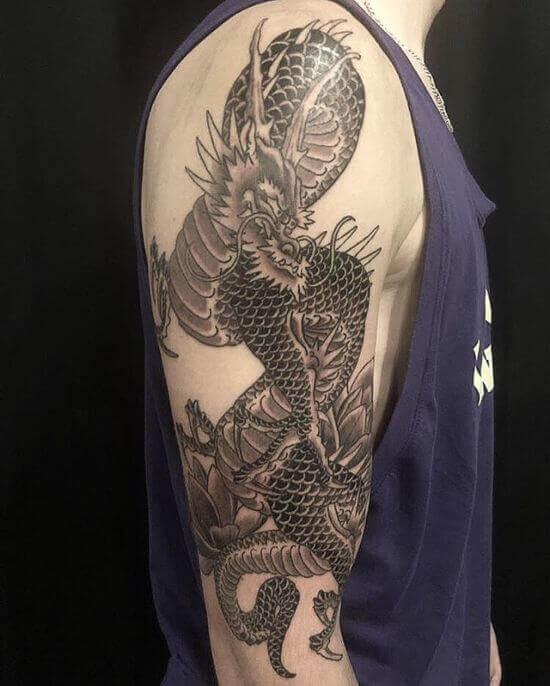 Best Japanese Dragon Sleeve Tattoo Designs 10