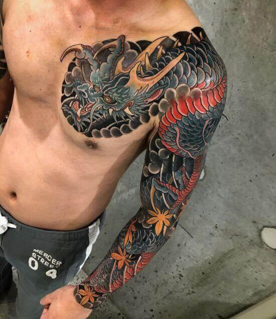 Best Japanese Dragon Sleeve Tattoo Designs 11