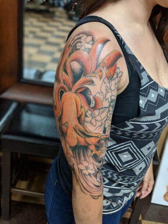Best Japanese Fox Sleeve Tattoo Designs 13
