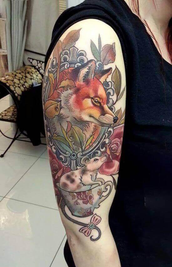 Best Japanese Fox Sleeve Tattoo Designs 14
