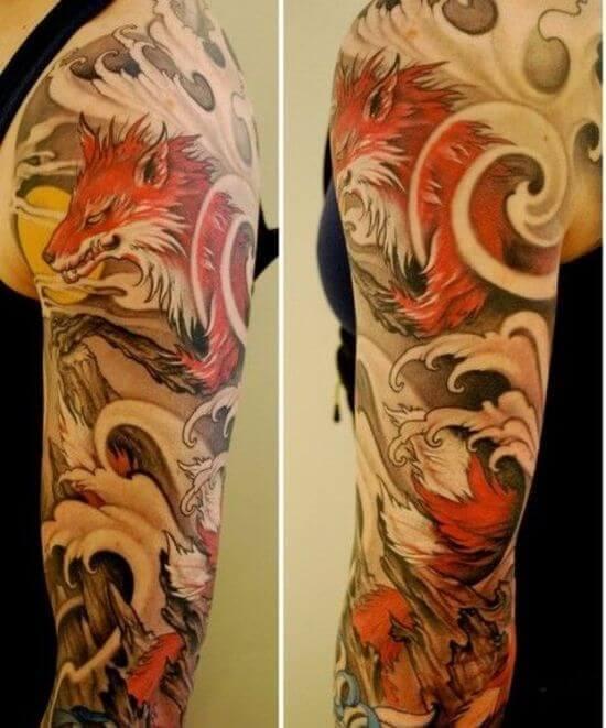 Best Japanese Fox Sleeve Tattoo Designs 5