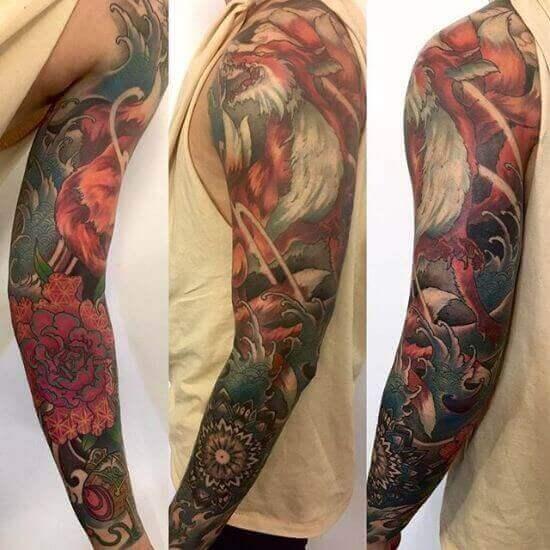 Best Japanese Fox Sleeve Tattoo Designs 8