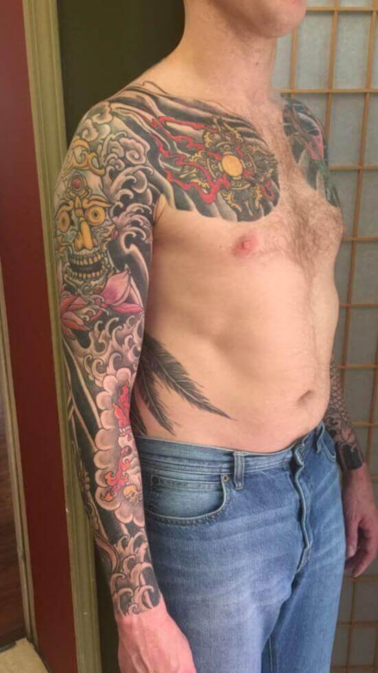Best Japanese Phoenix Sleeve Tattoo 13