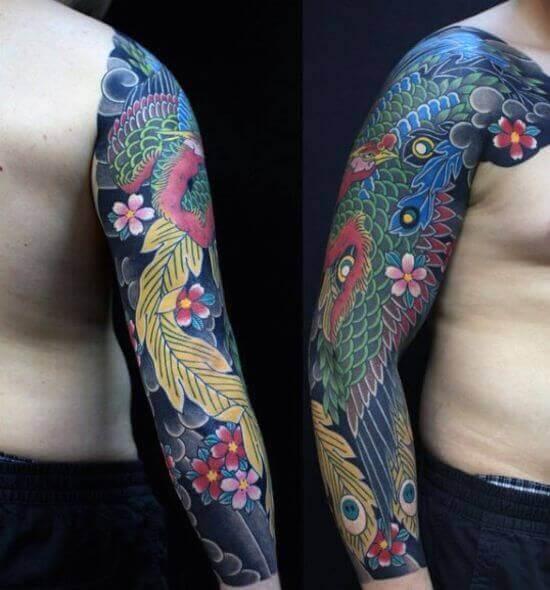 Best Japanese Phoenix Sleeve Tattoo 2