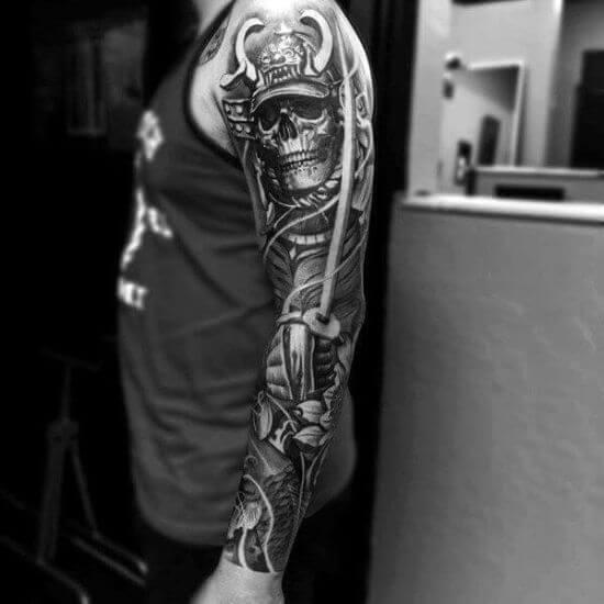 Best Japanese Skull Sleeve Tattoo Designs 5