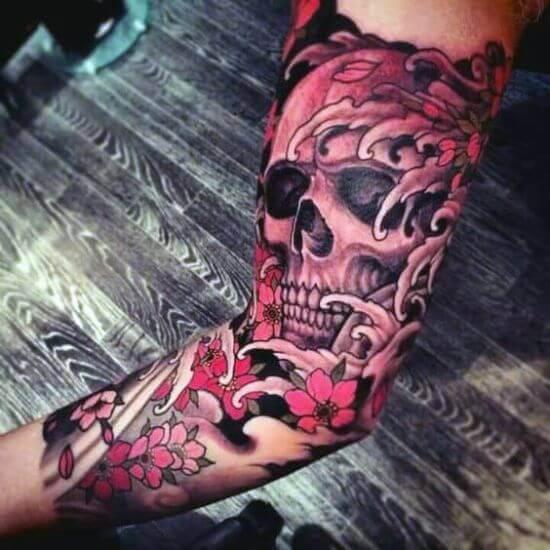 Best Japanese Skull Sleeve Tattoo Designs 8