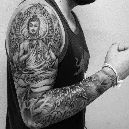 Black ink Buddha tattoo