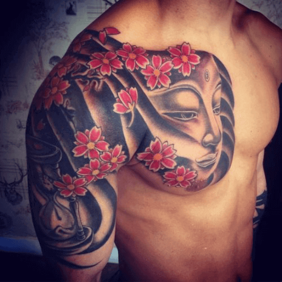 Cherry Blossom Buddha Tattoo Designs