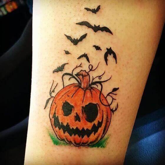 Bats-And-Halloween-Pumpkin-Tattoo designs 2020