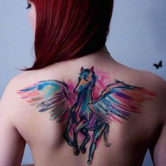 Colorful Pegasus tattoos
