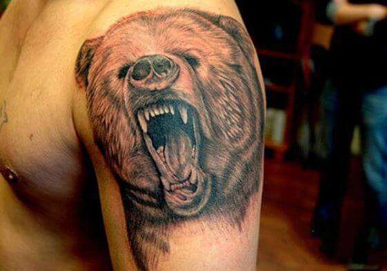 Grizzly-Bear-Tattoo-On-Left-Shoulder-For-Men