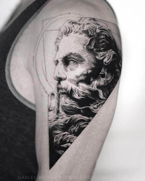 Portrait Grey and Black ink Tattoo design