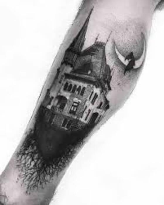 Scary Mansion Halloween Tattoo ideas