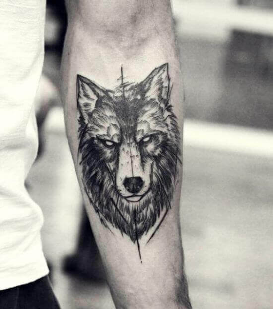 Wolf With Passive Expression Tattoos