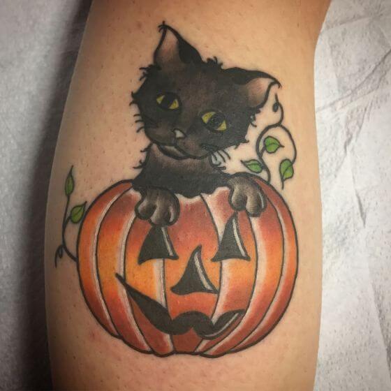 pumpkin and cat tattoo ideas for men 1