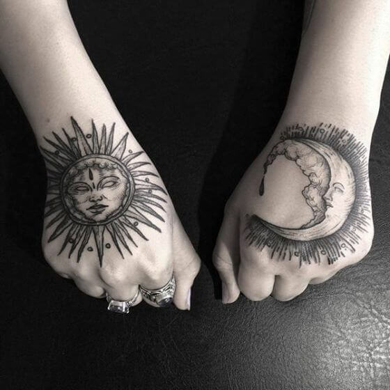 Best sun and moon hand tattoo ideas