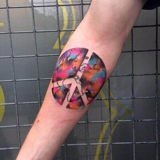 Colotful peace tattoo