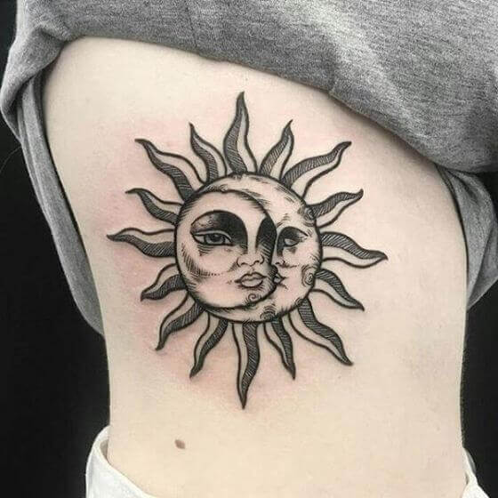 Combined Sun & Moon tattoo ideas