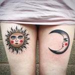 Facing Sun and moon tattoo ideas