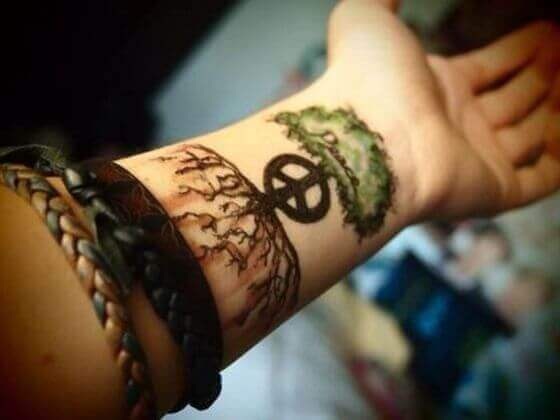 Peace sign with tree tattoo designs