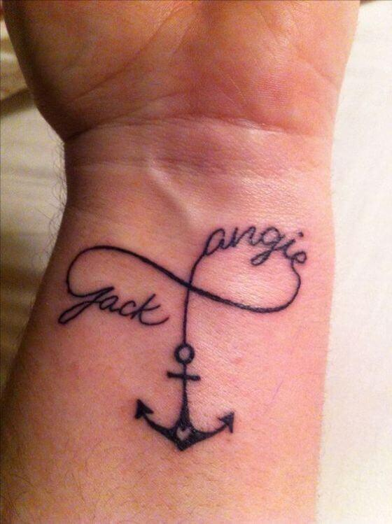 Anchor with Child Name tattoo ideas on wrist
