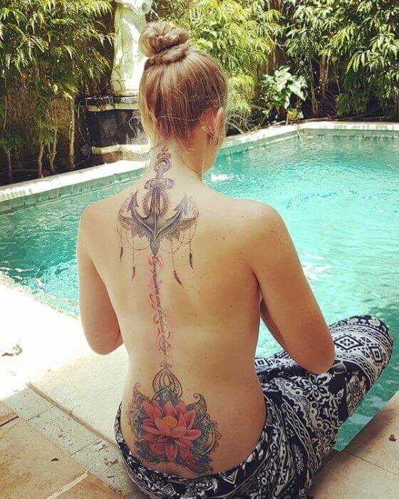 Best Anchor tattoo Designs on Women Back