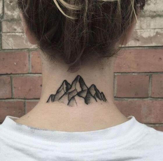 Black mountain tattoo on nape
