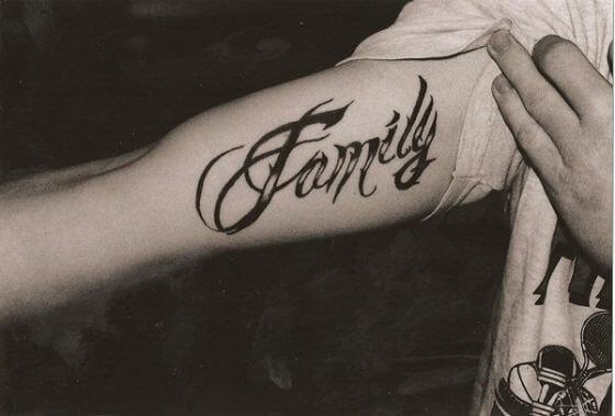 FAMILY Word tattoo on arm