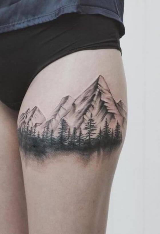 Mountain Thigh tattoo girl