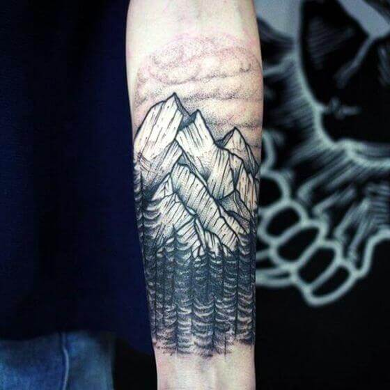 Mountains With Clouds & Forest on forearm