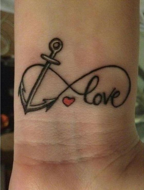 Wrist Anchor Love Tattoos 8