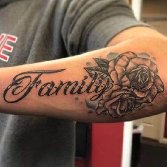 family word with flower tattoo ideas